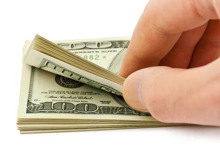 contando dinero: El dinero a mano contando aisladas sobre fondo blanco Foto de archivo