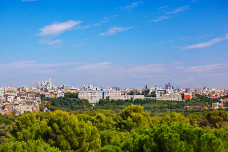 View to Royal Palace and the Almudena Cathedral at Madrid Spain photo