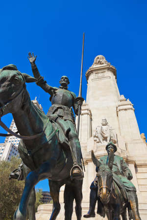 Don Quixote and Sancho Panza statue on Plaza de Espana - Madrid Spain photo