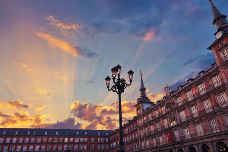 Mayor Plaza in the center of Madrid Spain at sunset Editorial