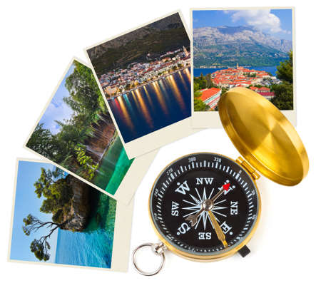 adventure travel: Croatia images and compass - nature and travel (my photos) Stock Photo