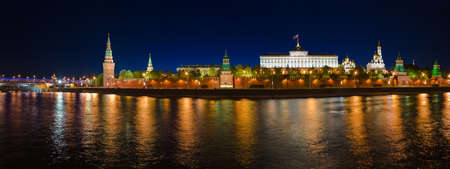Panorama of Kremlin in Moscow  Russia  at night photo