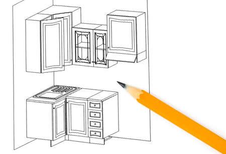 Kitchen plan isolated on white background Stock Photo - 13326292