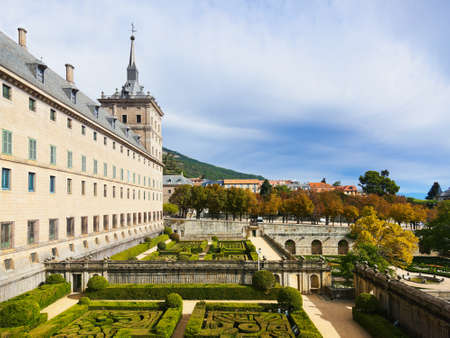 Park in Castle Escorial at San Lorenzo near Madrid Spain