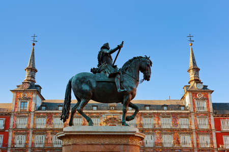 Statue of Philip III on Mayor plaza in the center of Madrid Spain Stock Photo - 13316032