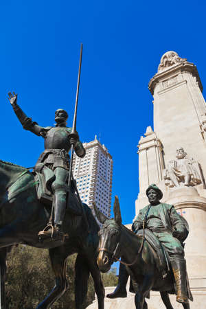 don quixote: Don Quixote and Sancho Panza statue on Plaza de Espana - Madrid Spain