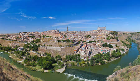 toledo: Panorama of Toledo Spain - nature and architecture background Stock Photo
