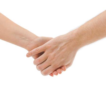 ni�os sosteniendo un cartel: Las manos del hombre y la mujer aisladas sobre fondo blanco