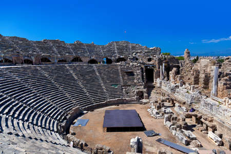 amphitheater: Old amphitheater in Side, Turkey - archaeology background