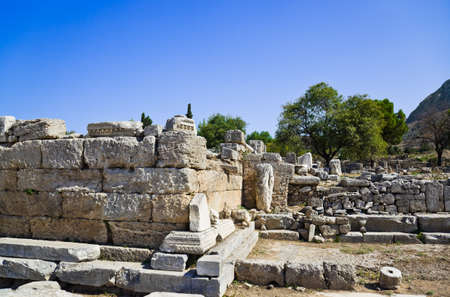 Ruins of temple in Corinth, Greece - archaeology background Stock Photo - 13361047