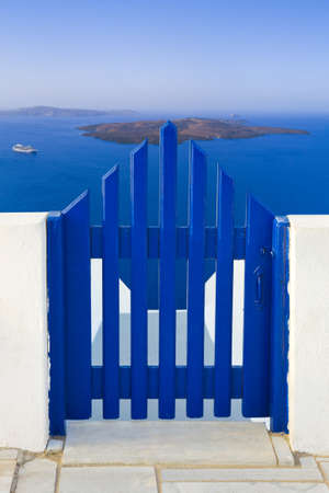 Santorini  Greece  - view to volcano  - vacation background photo
