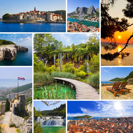 croatia dubrovnik: Collage of Croatia travel images - nature and tourism background  my photos  Stock Photo