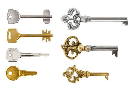 Set of retro and modern keys isolated on white background photo