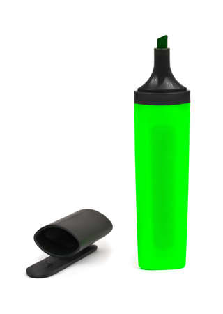Green marker and cap isolated on white background Stock Photo - 13435920