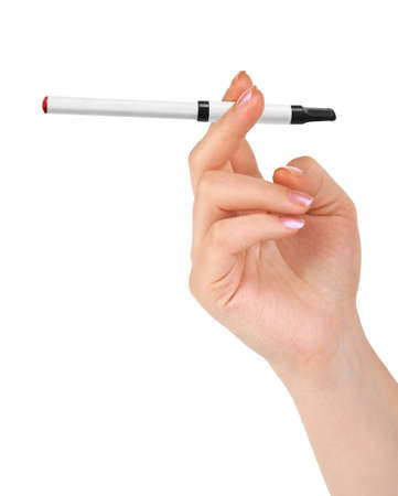 Hand with electronic cigarette isolated on white background photo