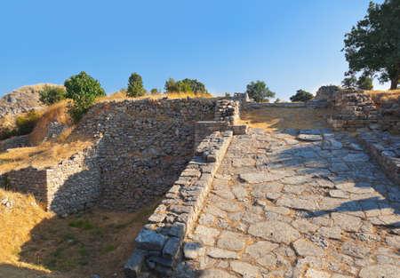 cavallo di troia: Antiche rovine in Turchia - Troy fondo viaggio Archivio Fotografico