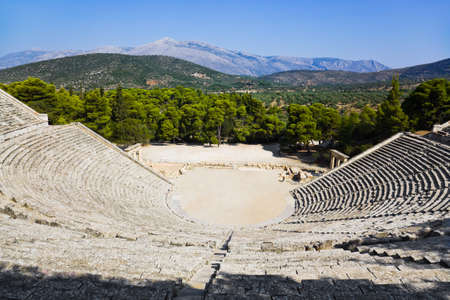 Ruins of Epidaurus amphitheater, Greece - archaeology background photo