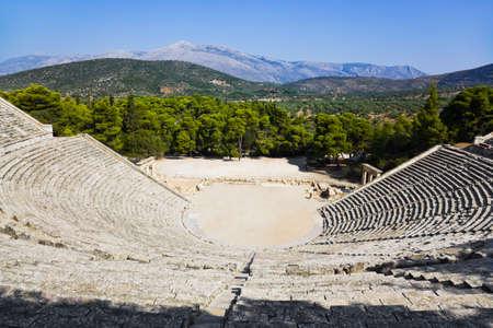 amphitheater: Ruins of Epidaurus amphitheater, Greece - archaeology background Stock Photo