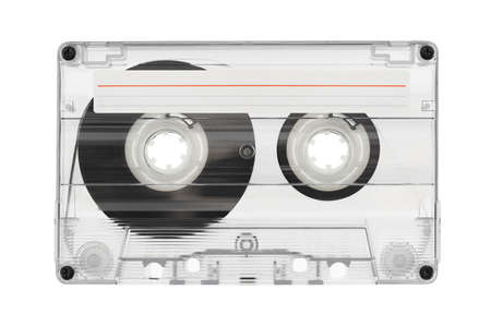 cd: Audio cassette with label isolated on white background Stock Photo