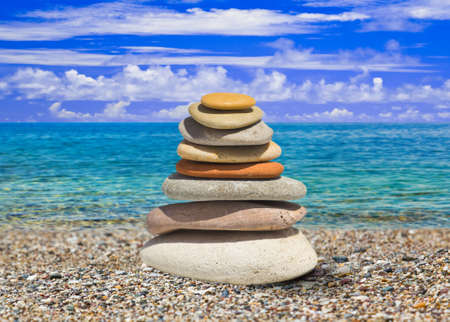 Stack of stones on beach - nature background Stock Photo - 13500123