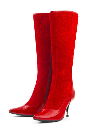 Red woman shoes isolated on white background photo