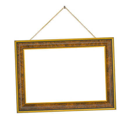 Retro frame with string isolated on white background photo