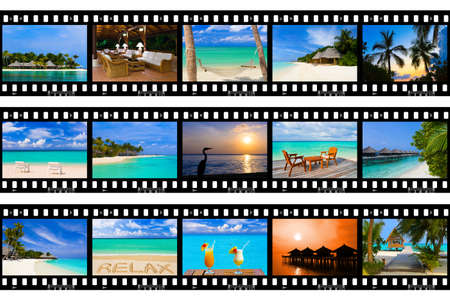 Frames of film - nature and travel  my photos , isolated on white background