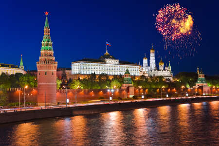 Firework over Kremlin in Moscow  Russia  photo