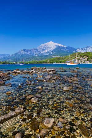 turkey beach: Beach at Phaselis in Antalya, Turkey - travel background