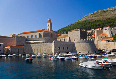 Port at town Dubrovnik in Croatia - architecture background