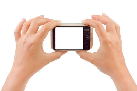 Photo camera in hands isolated on white background photo