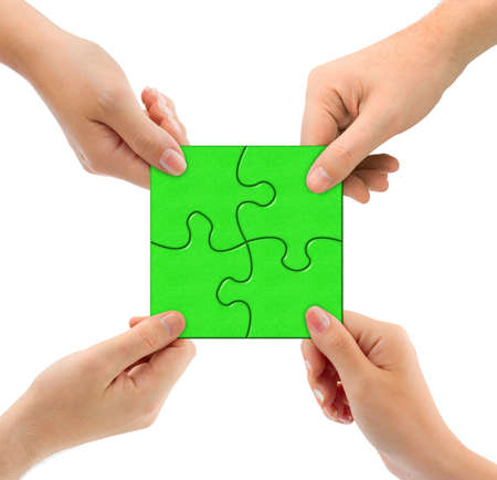 problem  solution: Hands and puzzle isolated on white background