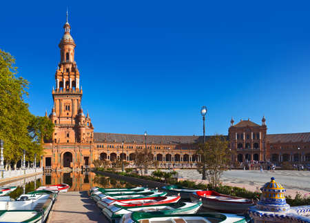espana: Palace at Spanish Square in Sevilla Spain - architecture background