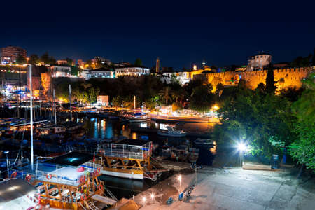 Old town Kaleici in Antalya, Turkey at night - travel background Stock Photo
