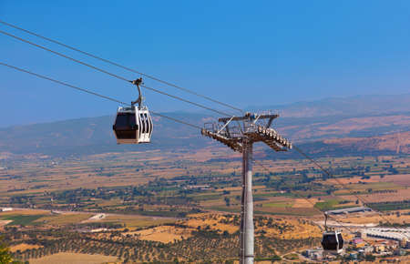 cableway: Cableway car in ancient city of Pergamon - Turkey