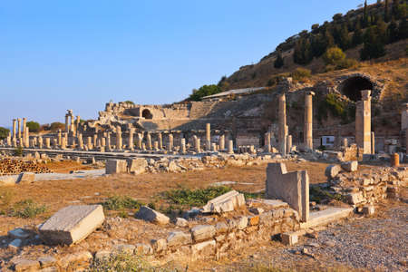archeology: Ancient ruins in Ephesus Turkey - archeology background