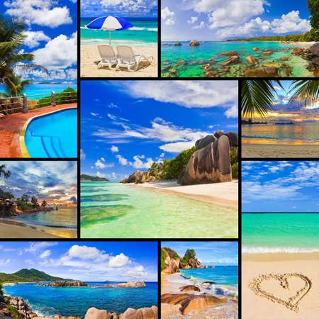 symbol tourism: Collage of summer beach images  - nature and travel background  my photos