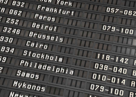 arrival departure board: Flight information board in airport terminal - travel background