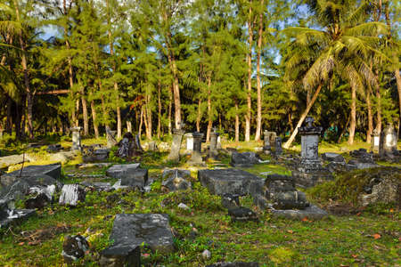burial: Old cemetery at Seychelles - travel background Stock Photo