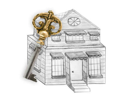 relocating: Drawing house and key isolated on white background