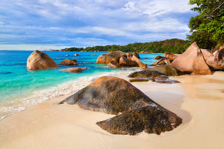 anse: Beach Anse Lazio at Seychelles - nature background Stock Photo