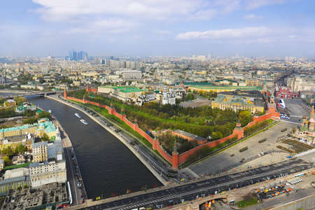 Parade of victory day at Moscow Kremlin - aerial view photo