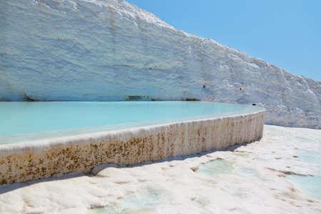 Travertine pools and terraces - Pamukkale Turkey Stock Photo - 13782591