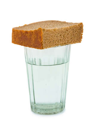 Bread and water isolated on white background Stock Photo - 13782562