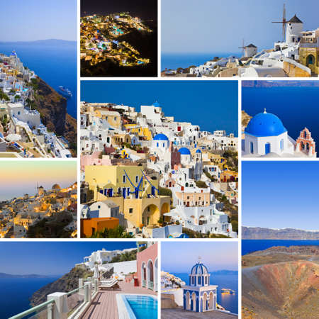 Collage of Santorini Greece images - travel background my photos