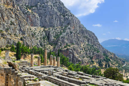 Ruins of Apollo temple in Delphi, Greece - archaeology background photo