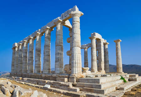 Poseidon Temple at Cape Sounion near Athens, Greece - travel background photo