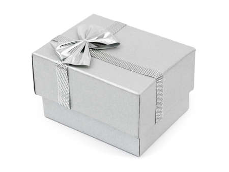 wrapped present: Siver gift - isolated on white background Stock Photo