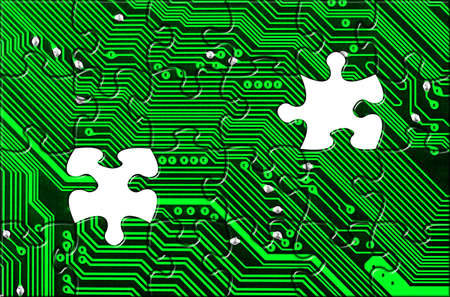 electronics parts: Computer board made of puzzle - technology concept background