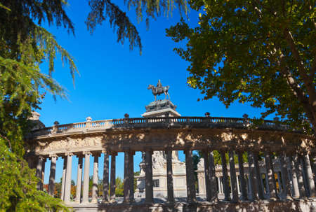 capote: Monument to Alfonso XII in the Park of the Pleasant Retreat in Madrid Spain - architecture background Stock Photo